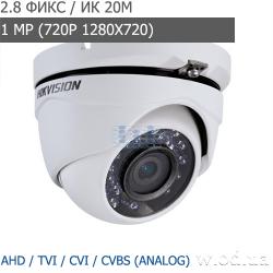 Видеокамера Turbo HD купольная Hikvision DS-2CE56C0T-IRMF (2.8 мм, HD 720P)