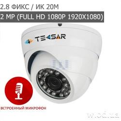 Видеокамера AHD купольная Tecsar AHDD-20F2M-A-out с микрофоном (Full HD 1080P)