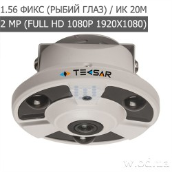 Видеокамера AHD купольная Tecsar AHDD-2Mp-10Fl-FE fisheye (Full HD 1080P)