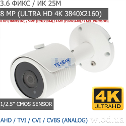 Видеокамера AHD уличная Tecsar AHDW-25F8ML (Ultra HD 4K 3840х2160)