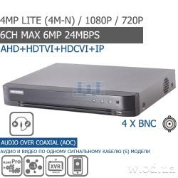 Гибридный Turbo HD 1U DVR видеорегистратор Hikvision DS-7204HQHI-K1 4 канальный