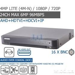 Гибридный Turbo HD 1U DVR видеорегистратор DS-7216HQHI-K1 16 канальный