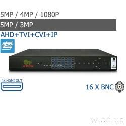 Гибридный видеорегистратор AHD Partizan 5.0MP для 16 камер ADH-16A SuperHD 3.6