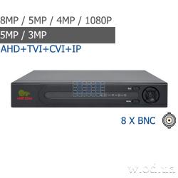 Гибридный видеорегистратор AHD Partizan 8.0MP для 8 камер ADH-18V SuperHD 4.3