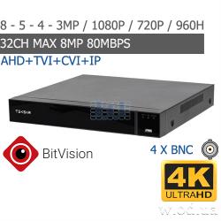 Гибридный видеорегистратор AHD Tecsar L4CH4AB-UHD+ 4 канальный