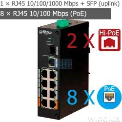 8-портовый неуправляемый POE коммутатор Dahua DH-PFS3110-8ET-96 (2 х Hi-PoE) 96 Вт