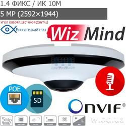 Панорамная IP видеокамера Fisheye 5 Мп Dahua DH-IPC-EW5541P-AS WizMind