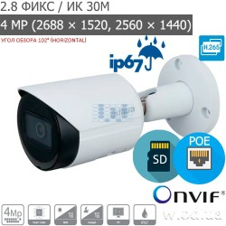 Уличная Bullet IP видеокамера 4 Мп Dahua DH-IPC-HFW2431SP-S-S2 Starlight WDR 120 dB (2.8 мм)