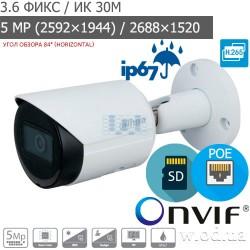 Уличная Bullet IP видеокамера 5 Мп Dahua DH-IPC-HFW2531SP-S-S2 Starlight WDR 120 dB (3.6 мм)