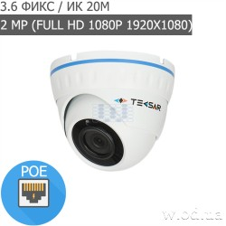 Купольная IP-видеокамера Tecsar Beta IPD-2M20F-poe (Full HD 1080P)