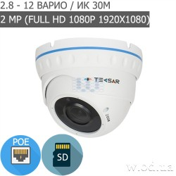 Купольная IP-видеокамера Tecsar Beta IPD-2M30V-SD-poe (Full HD 1080P)