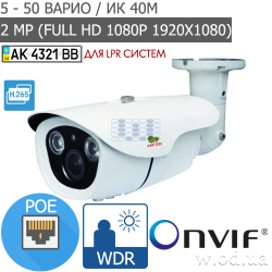 Уличная варифокальная IP камера Partizan 2.0MP IPO-VF2RP ANPR (Full HD 1080P)