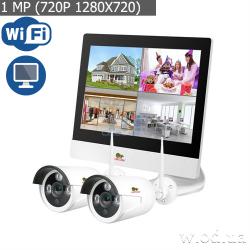 Комплект IP-видеонаблюдения Partizan 1.0MP набор для улицы LCD Wi-Fi IP-23 2xCAM + 1xNVR