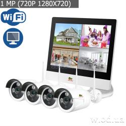 Комплект IP-видеонаблюдения Partizan 1.0MP набор для улицы LCD Wi-Fi IP-25 4xCAM + 1xNVR