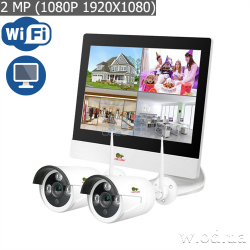 Комплект IP-видеонаблюдения Partizan 2.0MP набор для улицы LCD Wi-Fi IP-24 2xCAM + 1xNVR