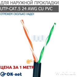 Сетевой (LAN) кабель Одескабель КПП-ВП (100) 2*2*0,50 (UTP-cat.5), OK-net, (CU), для наружных работ