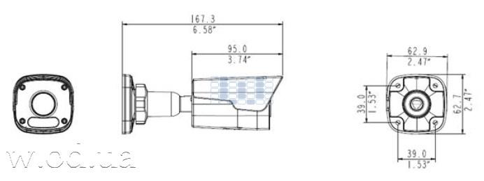 Uniview IPC2124SR3-DPF36 размеры ip-камеры